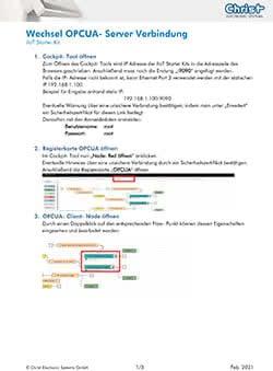 Wechsel OPCUA Server IIoT Starter Kit